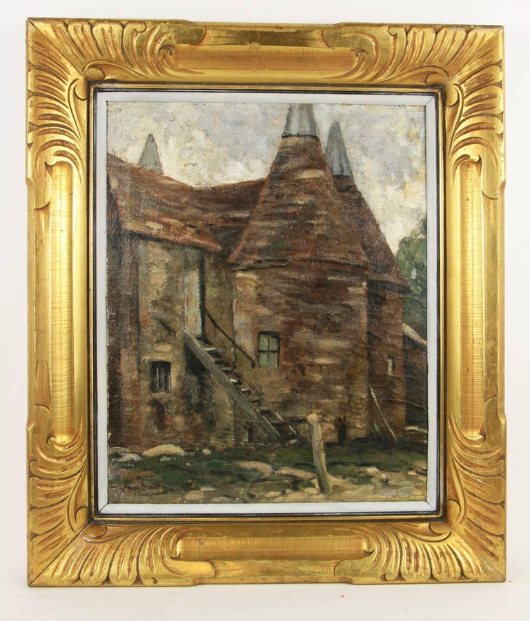 Unknown Landscape Painting - Impressionist 19th  Century French Farm House Landscape