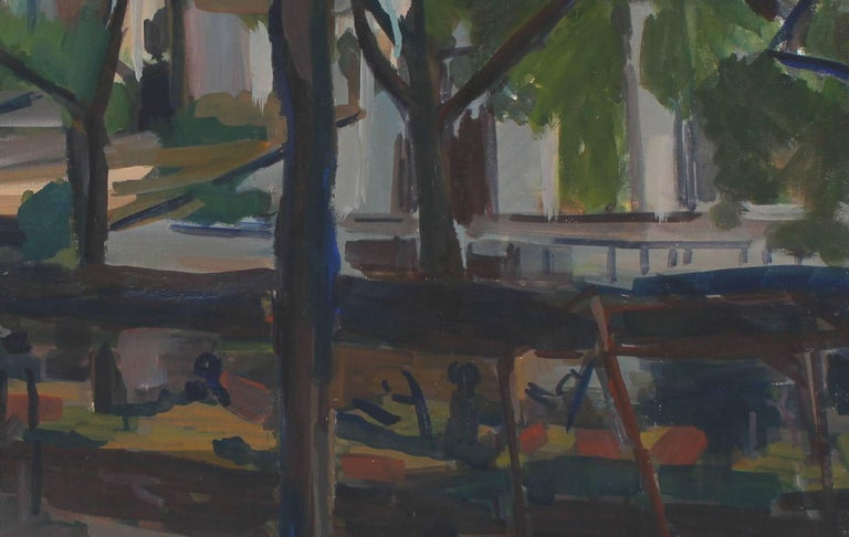 Impressionist City Park Bench, Oil Painting, 20th Century - Black Landscape Painting by Unknown
