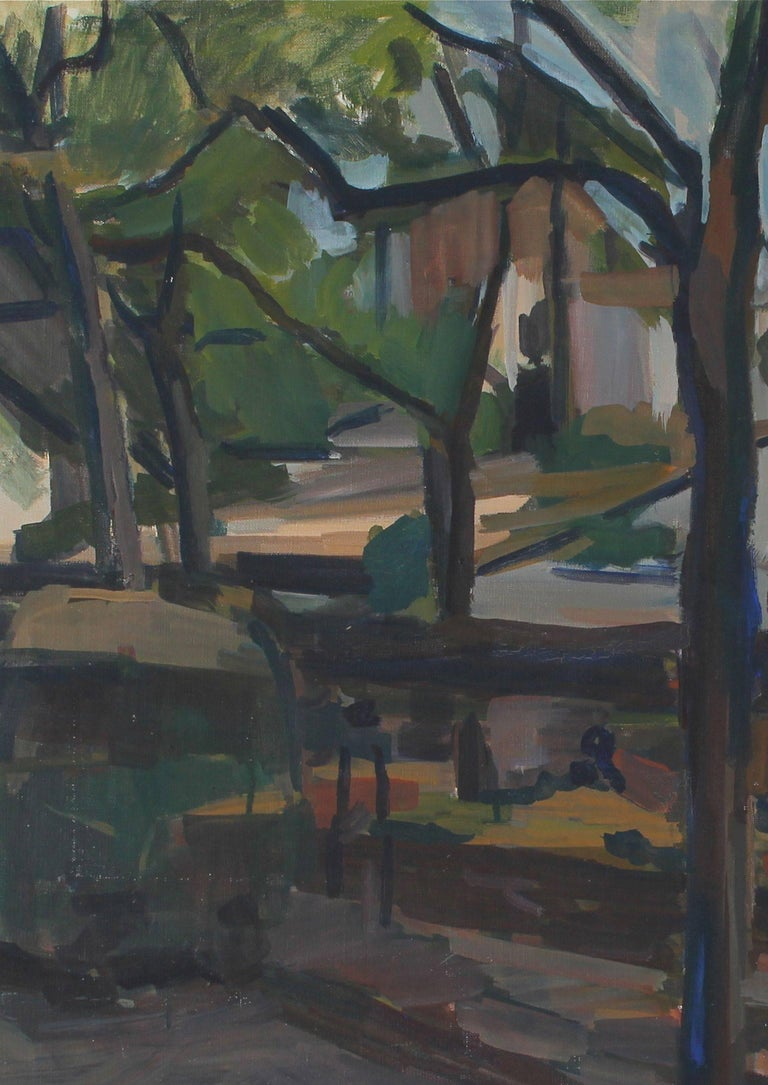 This unsigned oil on canvas urban landscape is likely a scene of New York City. Unframed.