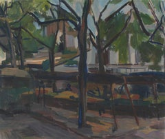 Impressionist City Park Bench, Oil Painting, 20th Century