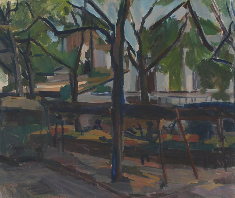 Unknown Landscape Painting - Impressionist City Park Bench, Oil Painting, 20th Century