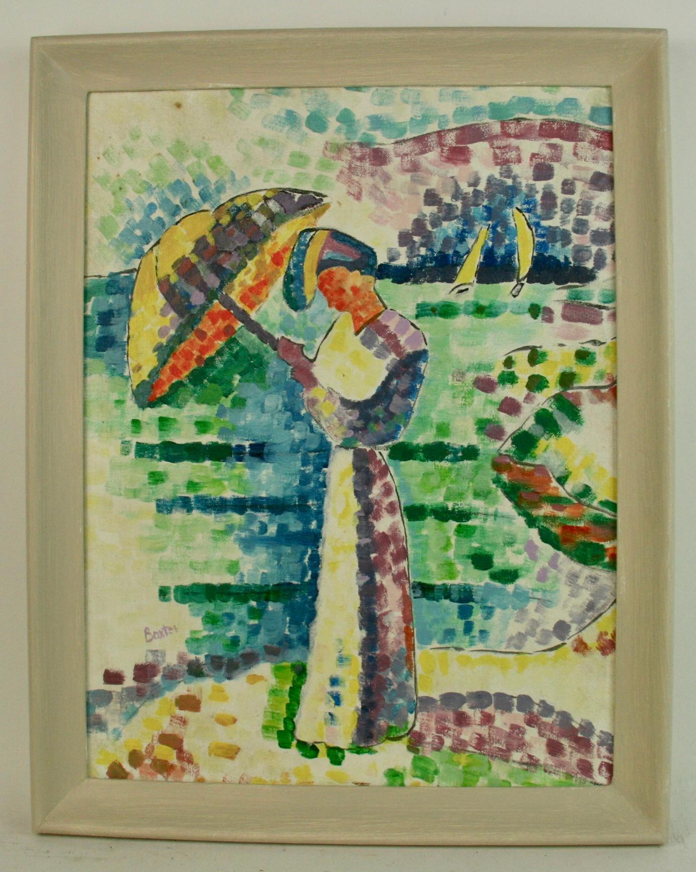 Impressionist Figurative Lady  With an Umbrella