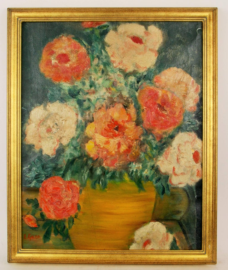 Unknown Landscape Painting - Impressionist Flowers Still Life Circa 1940's