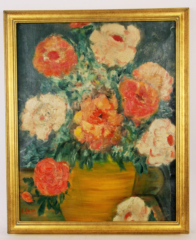 5-3213a  Impressionist style floral still life Displayed in a gilt wood frame Image size 19.5x15.5