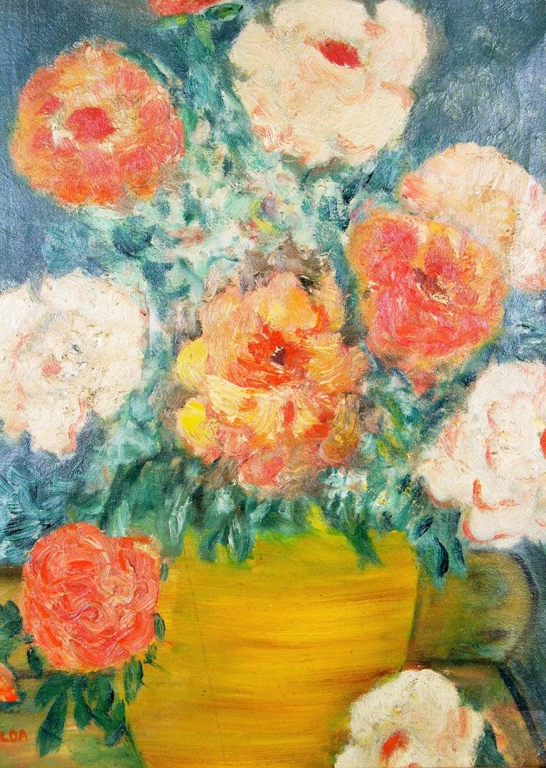 Impressionist Flowers Still Life Circa 1940's For Sale 1