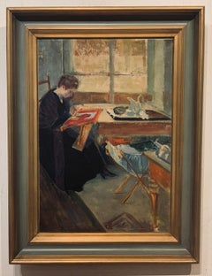 Impressionist Interior of Woman at Table signed Hekking
