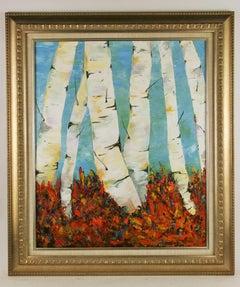 Impressionist Large Birch Trees Vista Landscape   Painting