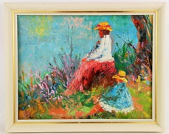 French Impressionist Mother and Child Figurative  Landscape  Painting
