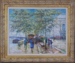Impressionist Oil Painting of Paris, France in the Manner of Blanchard & Cortes