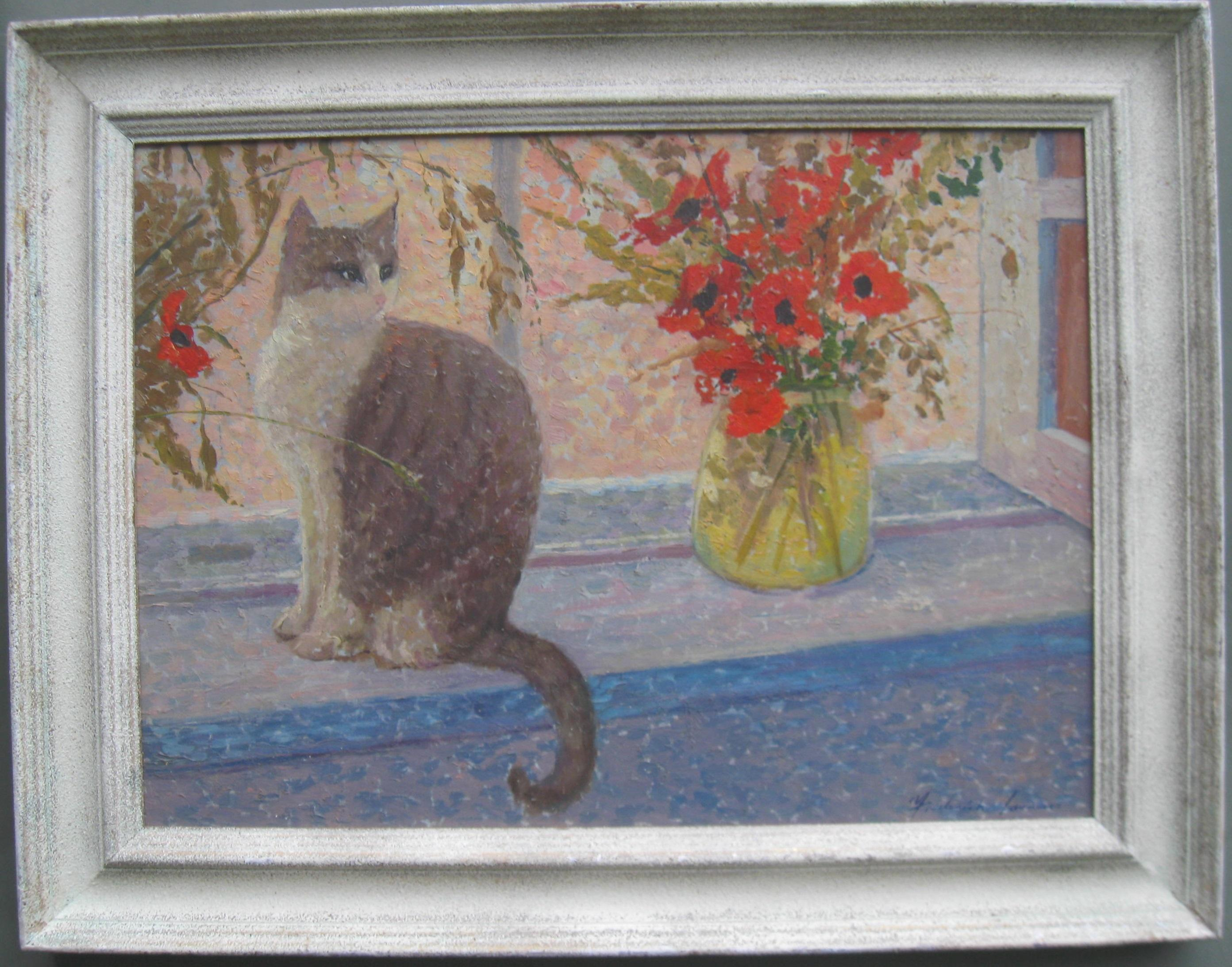 Impressionist: 'On the Window Sill' signed oil on canvas circa 1950's