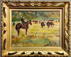 Impressionist Painting of a Cowboy with his cattle in a landscape - Horse Farm