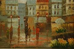 Impressionist Paris Flower Market Figurative Landscape