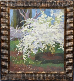 Impressionist Signed Landscape with Cherry Blossom Tree Antique Oil Painting