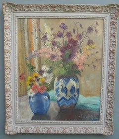 Impressionist: Still Life Vases of Flowers by a Window oil circa 1930's