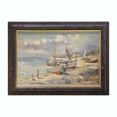 Impressionist Style Harbor Beach Scene Signed By Ruffo
