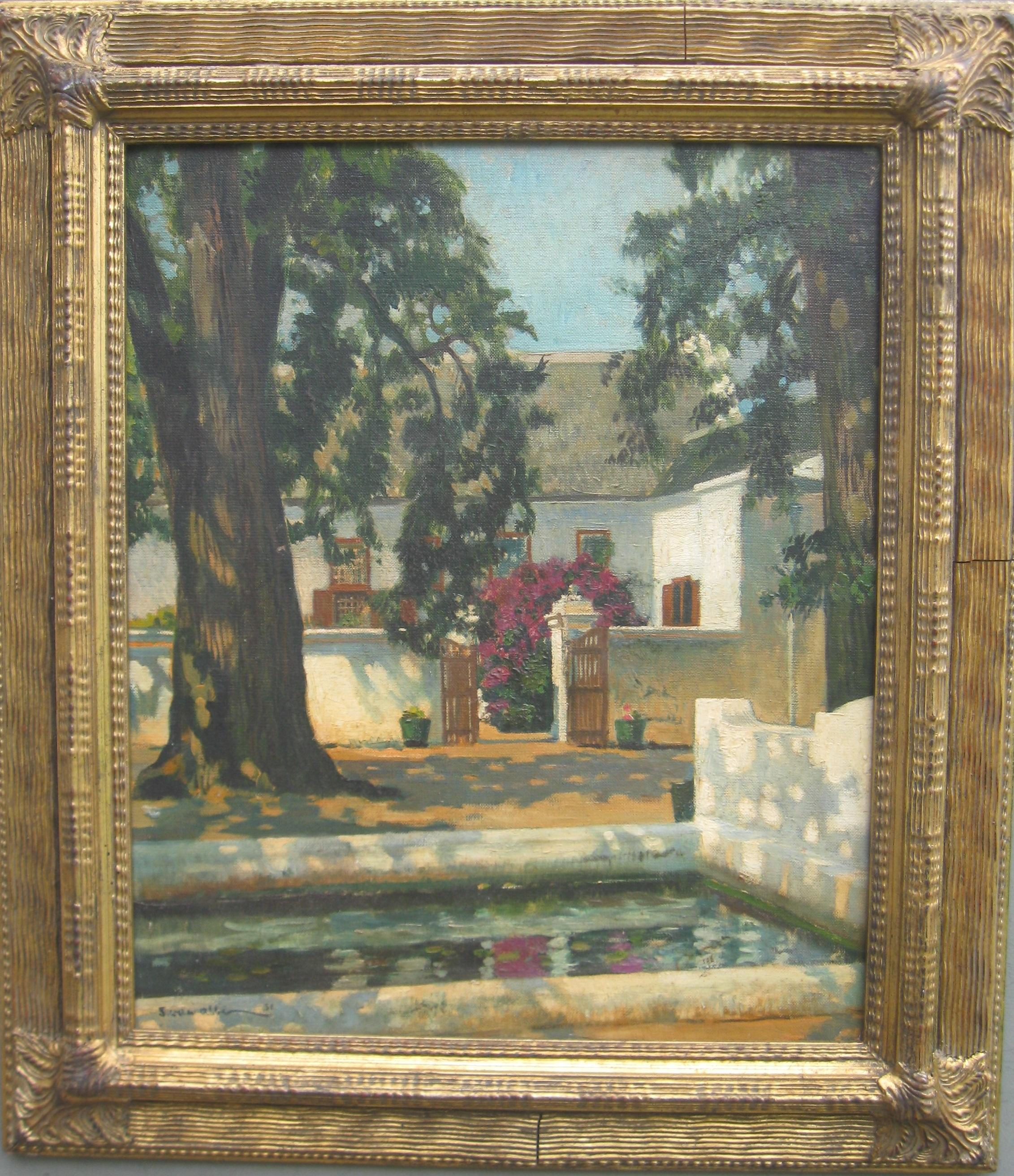 Impressionist View of a Vineyard and Fish Pond oil on canvas circa 1951