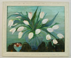 Impressionist White Tulips Flower Still Life