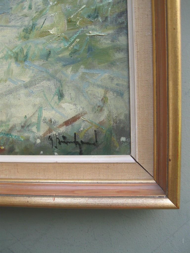 Impressionist: 'Young Friends by the Beach watching Fishermen' oil circa 1950's For Sale 6