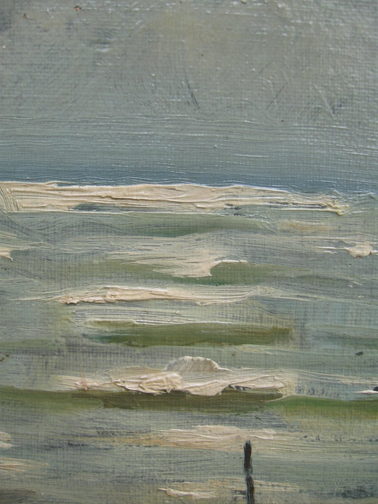Impressionist: 'Young Friends by the Beach watching Fishermen' oil circa 1950's For Sale 7