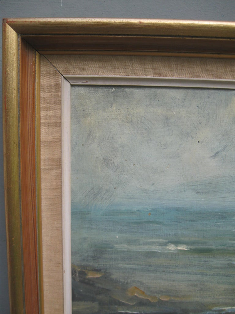 Impressionist: 'Young Friends by the Beach watching Fishermen' oil circa 1950's For Sale 8