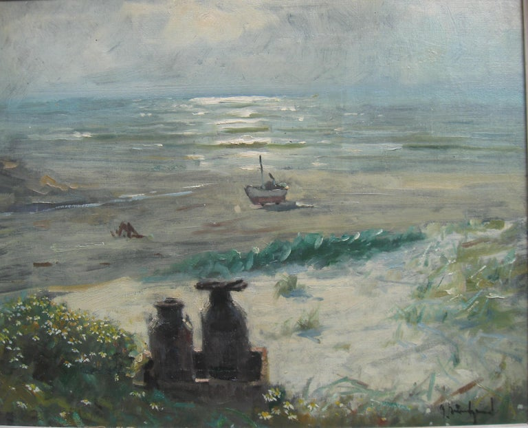 Impressionist: 'Young Friends by the Beach watching Fishermen' oil circa 1950's - Painting by Unknown