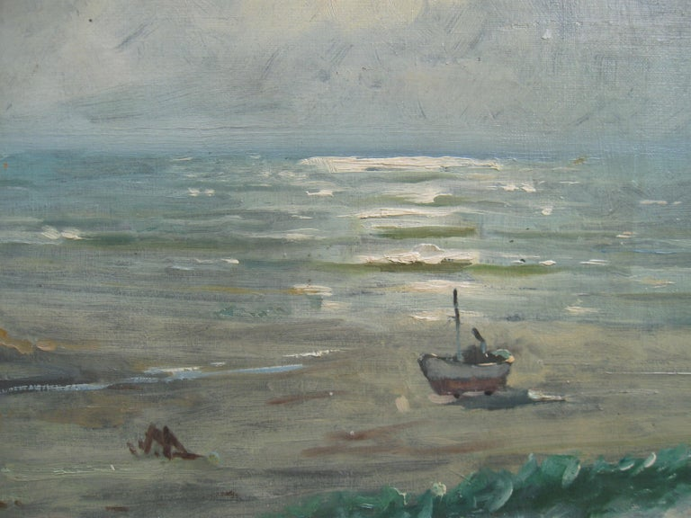 Impressionist: 'Young Friends by the Beach watching Fishermen' oil circa 1950's - Gray Landscape Painting by Unknown