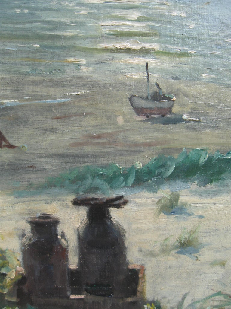 A fine Impressionist  oil, ' Young Friends by the Beach Watching Fishermen' circa 1950's. oil on canvas 43cm x 53cm Good quality gallery frame 52cmx62cm Painted by Gunnar Bundgaard ( 1920-2005) Signed lower right Two young friends/ sisters watching