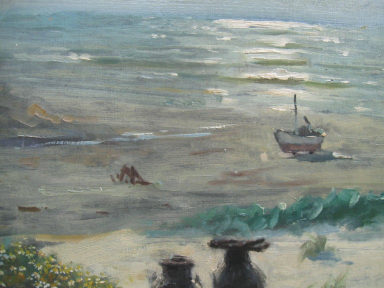 Impressionist: 'Young Friends by the Beach watching Fishermen' oil circa 1950's For Sale 1