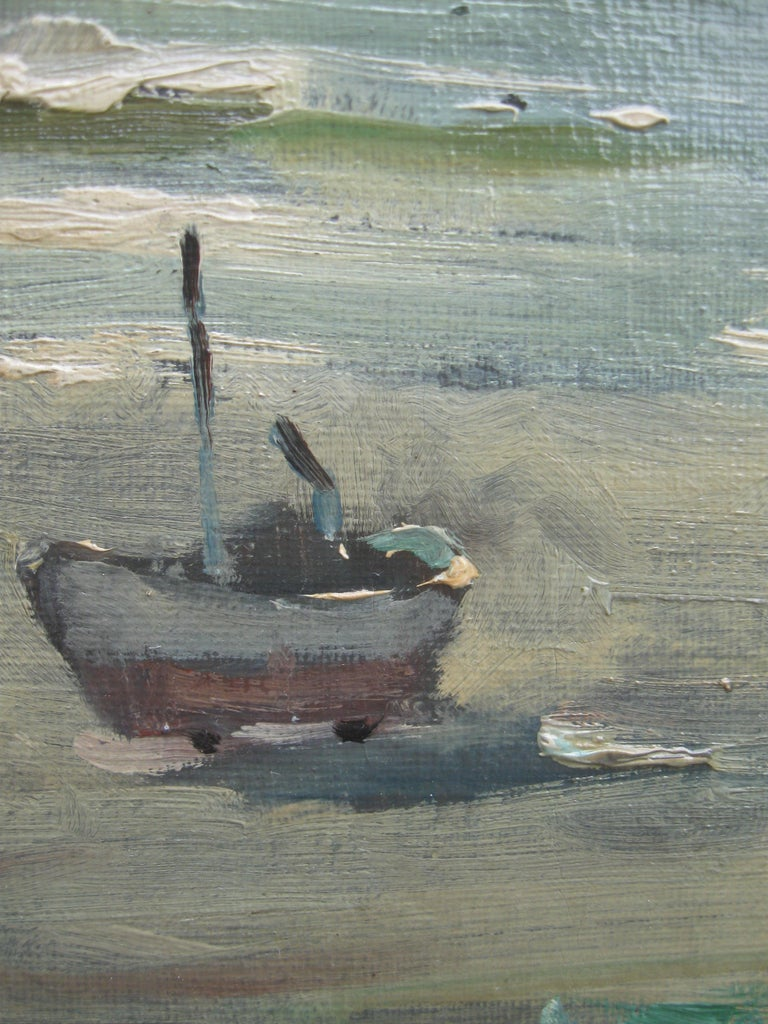 Impressionist: 'Young Friends by the Beach watching Fishermen' oil circa 1950's For Sale 2