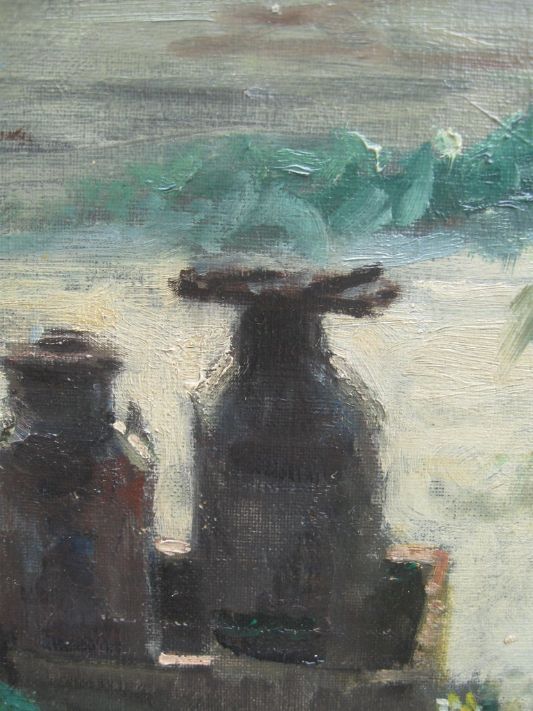 Impressionist: 'Young Friends by the Beach watching Fishermen' oil circa 1950's For Sale 3