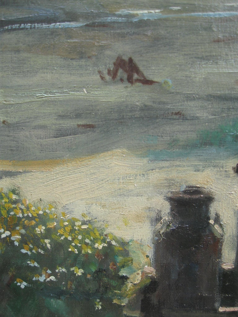 Impressionist: 'Young Friends by the Beach watching Fishermen' oil circa 1950's For Sale 5
