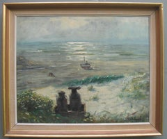 Impressionist: 'Young Friends by the Beach watching Fishermen' oil circa 1950's