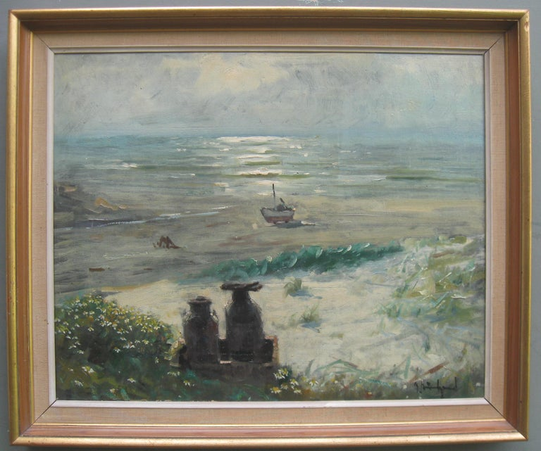 Unknown Landscape Painting - Impressionist: 'Young Friends by the Beach watching Fishermen' oil circa 1950's