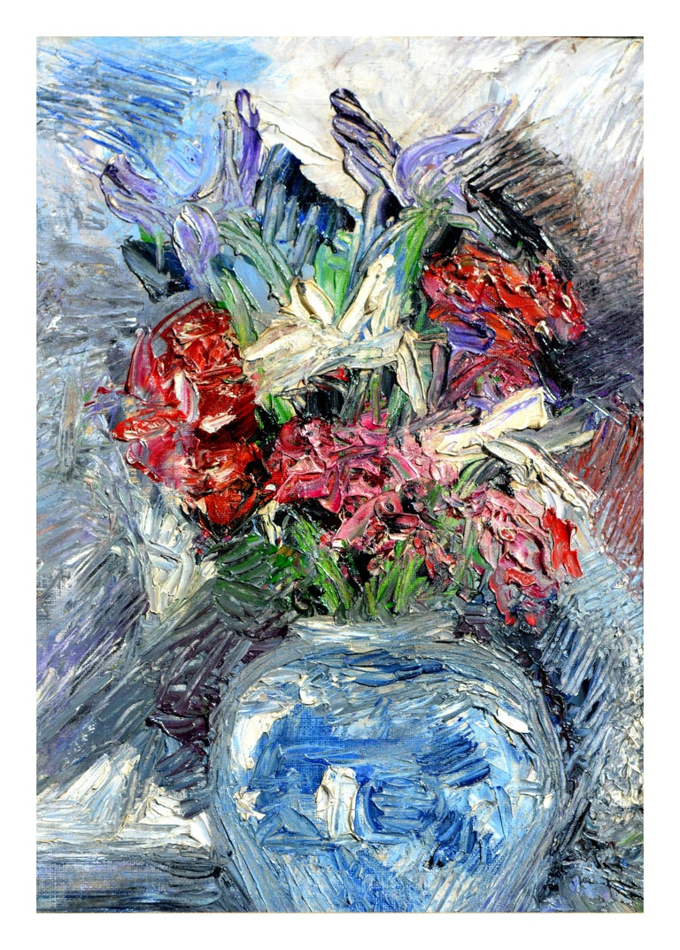 Impressionistic Blue Vase with Flowers - Painting by Unknown