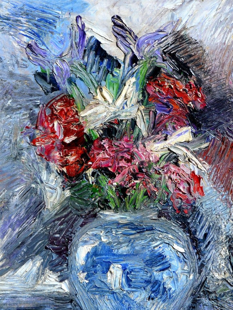 Impressionistic Blue Vase with Flowers - Gray Still-Life Painting by Unknown