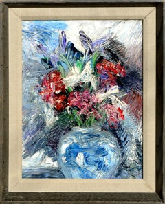 Impressionistic Blue Vase with Flowers