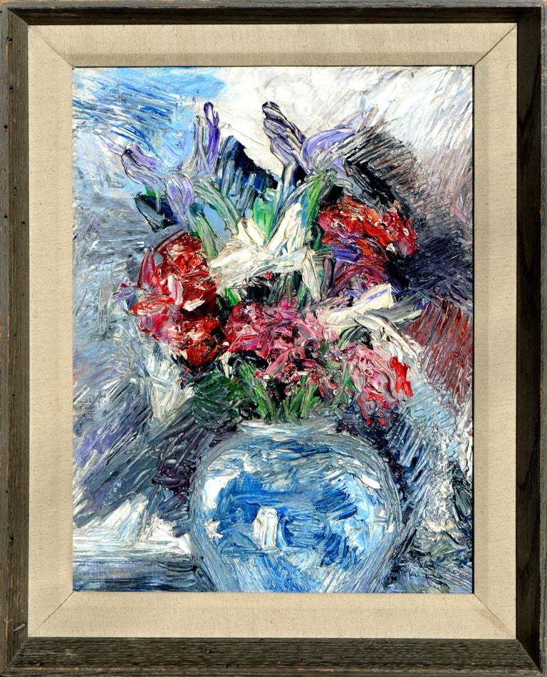 Unknown Still-Life Painting - Impressionistic Blue Vase with Flowers