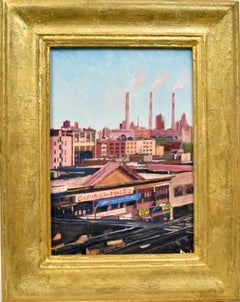 """Industrial Cityscape, View of Brooklyn NY, """"Greiner-Maltz Store Front"""" Painting"""