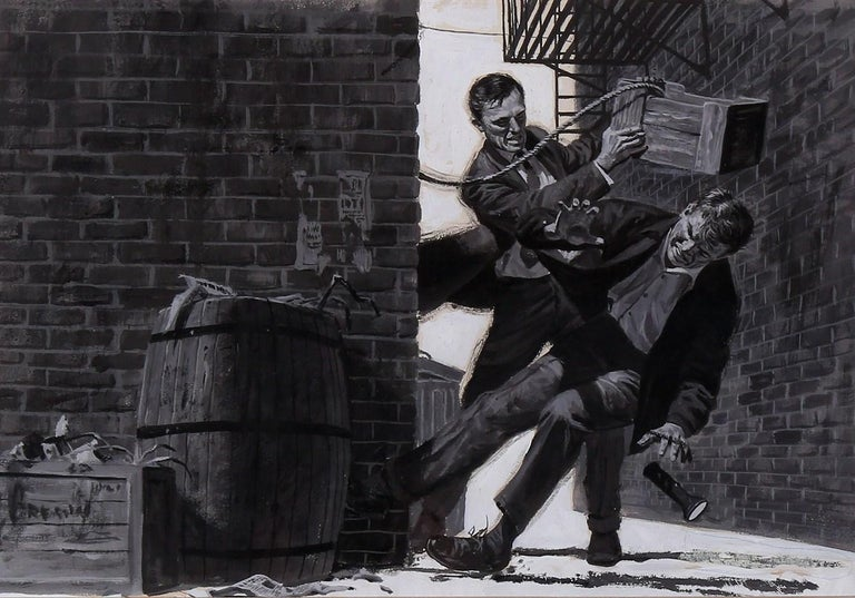 Interior Men's Magazine Illustration--Alley Fight - Painting by Unknown