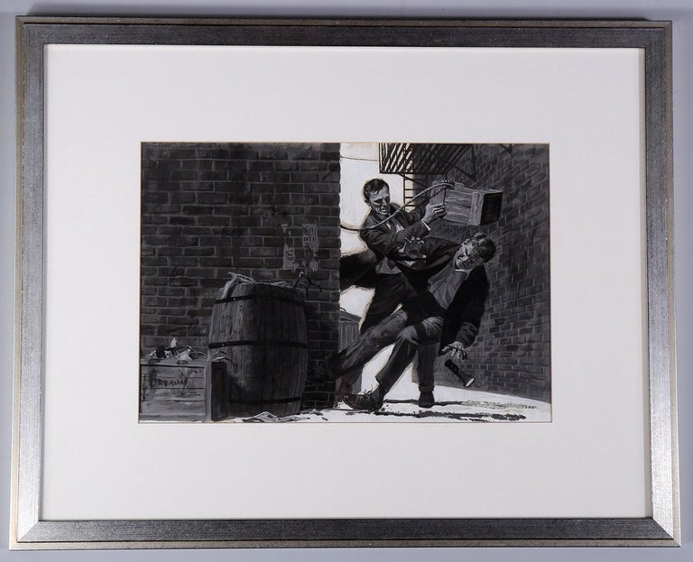 Unknown Figurative Painting - Interior Men's Magazine Illustration--Alley Fight