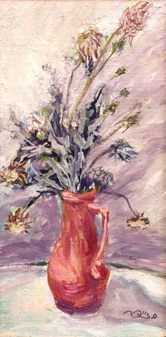 Israeli Expressionist Oil Painting Floral Bouquet Signed in Hebrew Miniature