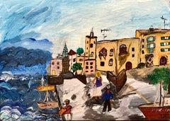 Israeli Modernist Tel Aviv Jaffa Port Folk Art Fisherman with Boat Oil Painting
