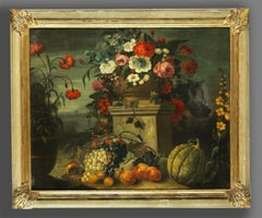 Italian 17th Century Still Life Painting With Flowers,Apricots,Peaches,Grapes