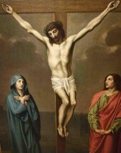 Italian Crucifixion Religious Painting 19 century oil canvas
