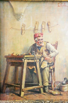 Italian Cobbler Figurative Painting  by L. Colli