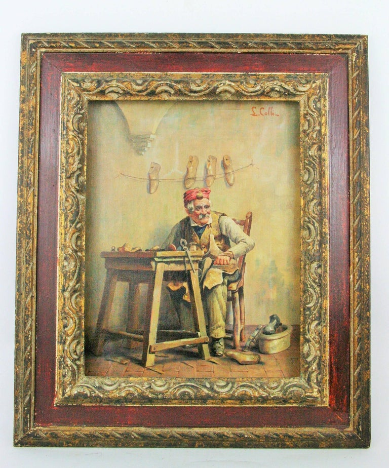 "5-112 Italian oil on canvas Displayed in custom wood frame Image size 10.5x13.5"" Signed A. Colli"