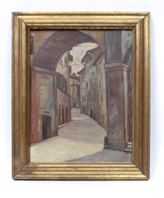 Italian European Modern Cityscape Siena Walled City Oil Painting Gold Framed