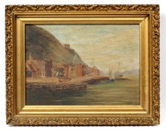Italian Fishing Village Antique Oil Painting Framed Signed Early 20th Century