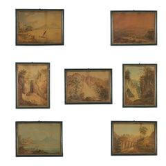Italian Glimpses Set of Seven Watercolors Antique Art 1823