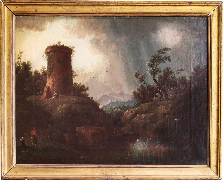 Italian landscape painting — italian painter 1700 circa, oil on canvas Enframed with a gold leaf wooden frame of the same period  cm50x38.5